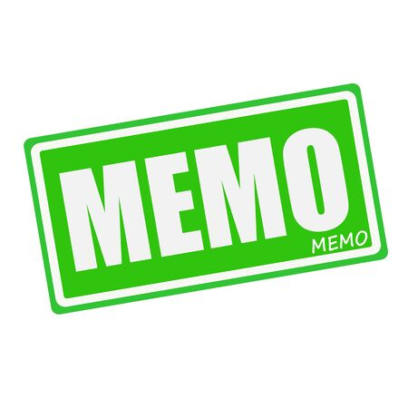 told: MEMO white stamp text on green