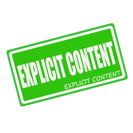 explicit: EXPLICIT CONTENT white stamp text on green Stock Photo