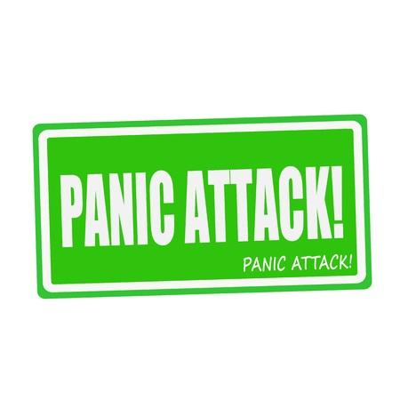 panic attack: PANIC ATTACK white stamp text on green