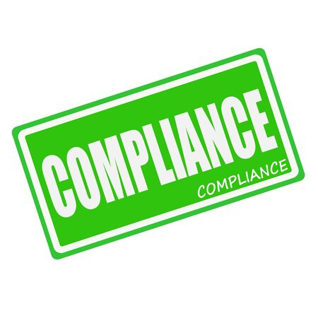 conform: COMPLIANCE white stamp text on green Stock Photo