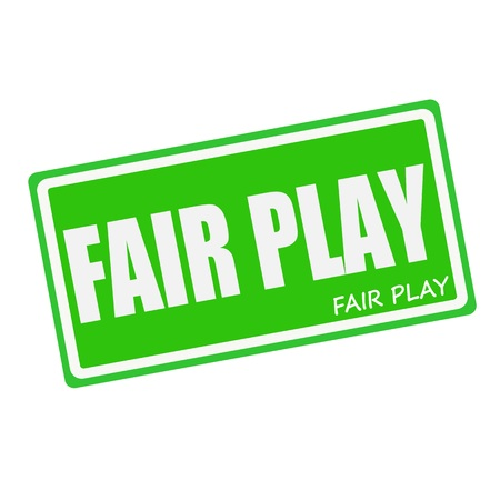 fair play: FAIR PLAY white stamp text on green Stock Photo