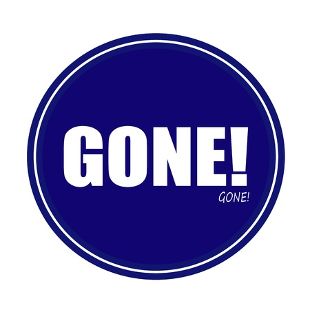 gone: GONE white stamp text on blue
