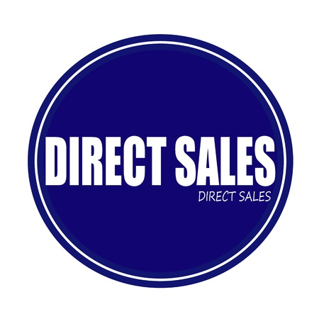 direct: DIRECT SALES white stamp text on blue Stock Photo