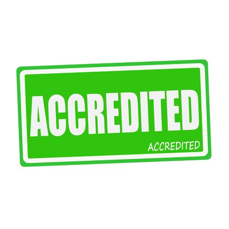 accredited: ACCREDITED white stamp text on green Stock Photo