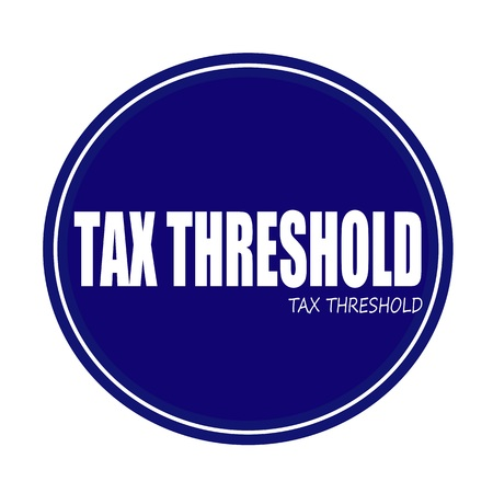 taxable: TAX THRESHOLD white stamp text on blue