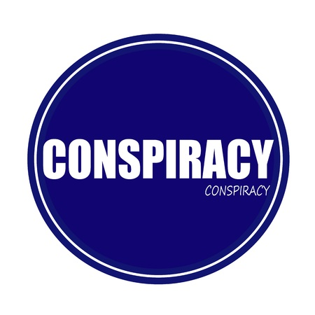 disloyal: CONSPIRACY white stamp text on blue Stock Photo
