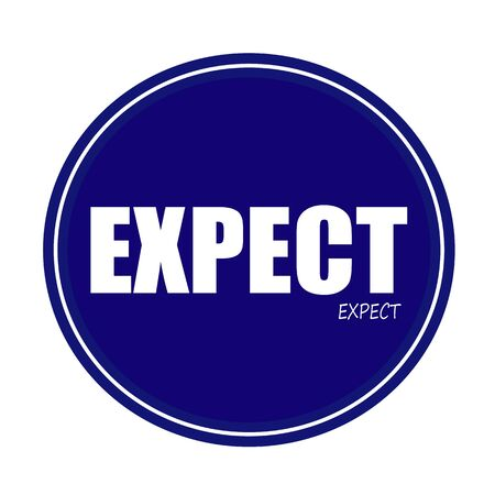 expect: EXPECT white stamp text on blue