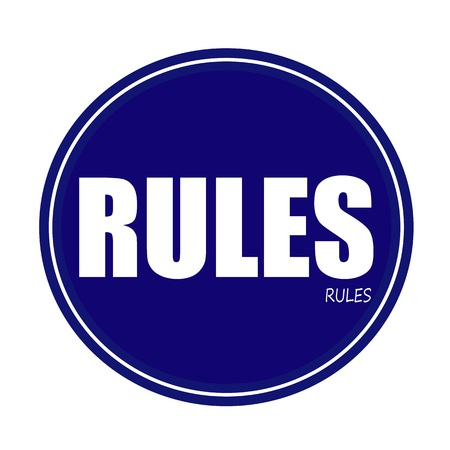 RULES white stamp text on blue
