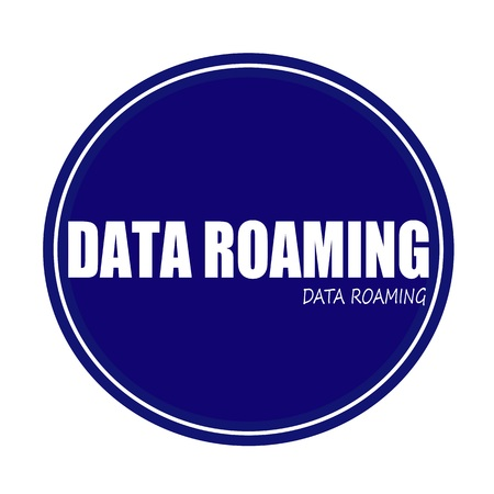 contractual: DATA ROAMING white stamp text on blue