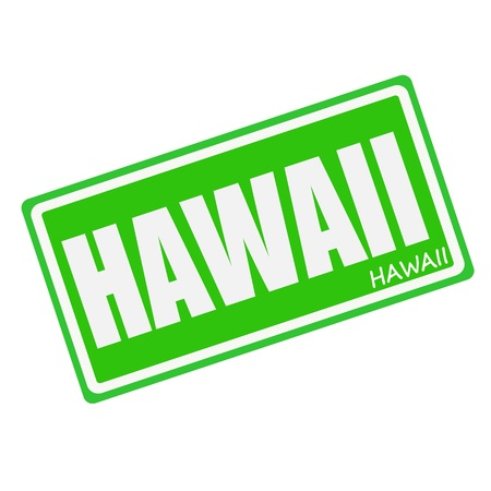 HAWAII white stamp text on green