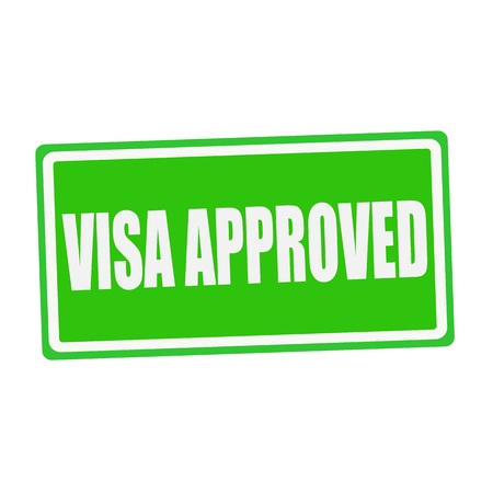 visa approved: VISA APPROVED white stamp text on green