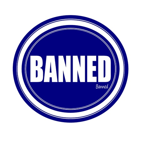 banned: BANNED white stamp text on blue