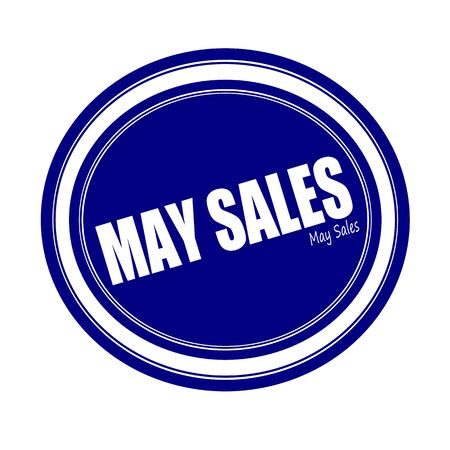 advertised: MAY SALES white stamp text on blue