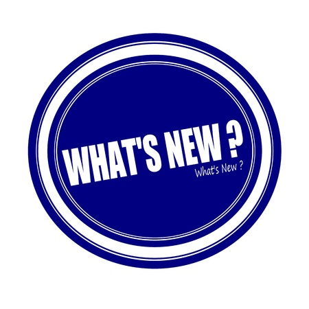 WHATS NEW white stamp text on blue