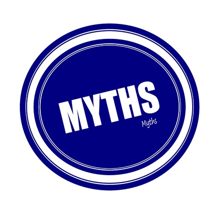 MYTHS white stamp text on blue