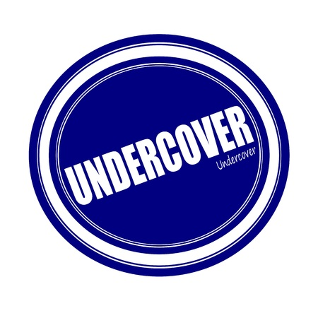undercover: UNDERCOVER white stamp text on blue