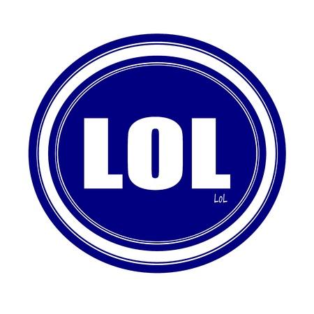 abbreviated: LOL testo del timbro bianco su blu