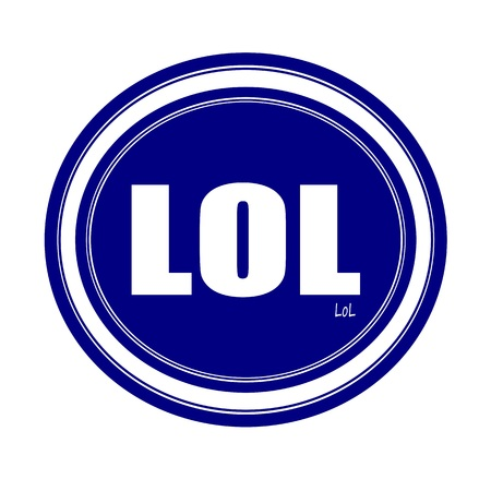 chuckle: LOL white stamp text on blue