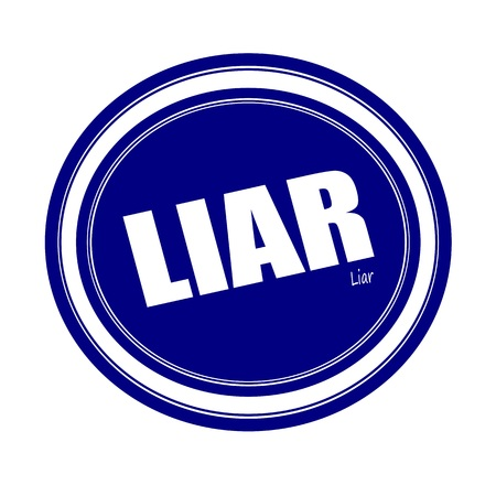 deceitful: LIAR white stamp text on blue Stock Photo