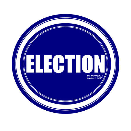 borough: ELECTION white stamp text on blue