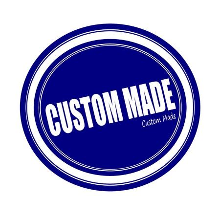 custom made: CUSTOM MADE white stamp text on blue