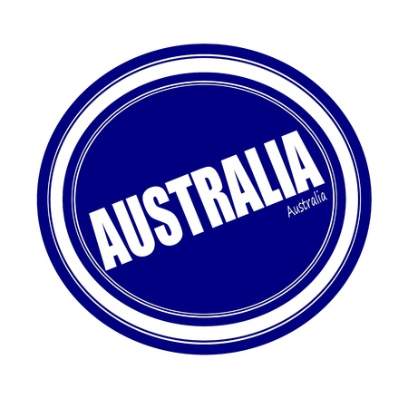 australia stamp: AUSTRALIA white stamp text on blue