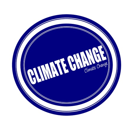 unsustainable: CLIMATE CHANGE white stamp text on blue