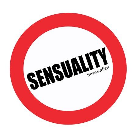Sensuality black stamp text on white