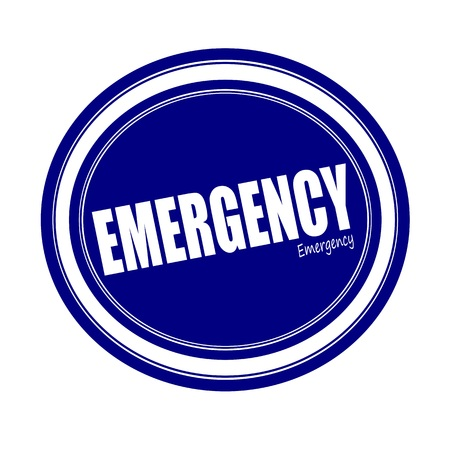life giving birth: EMERGENCY white stamp text on blue Stock Photo