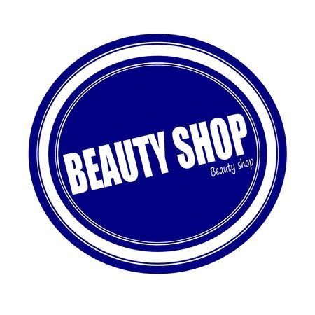 beauty shop: BEAUTY SHOP white stamp text on blue