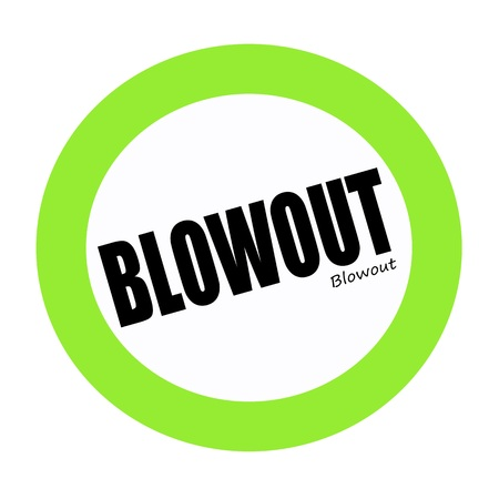 blowout: BLOWOUT black stamp text on green