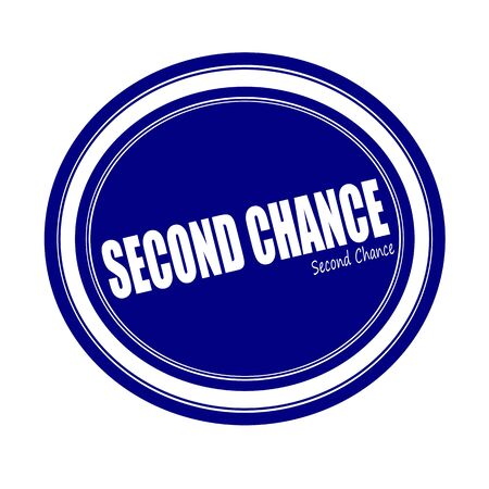 luckiness: SECOND CHANCE white stamp text on blue