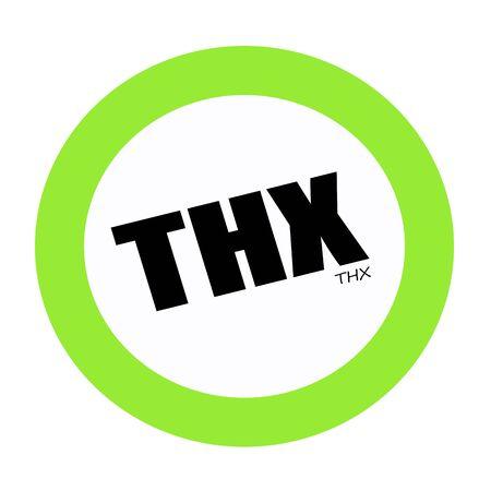 agradecimiento: Texto THX sello negro en verde Foto de archivo