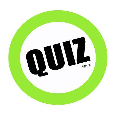 interrogate: QUIZ black stamp text on green