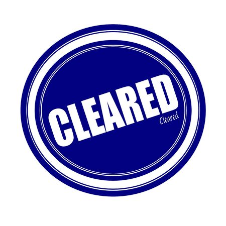 cleared: CLEARED white stamp text on blue