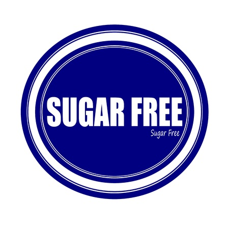 low cal: SUGAR FREE white stamp text on blue