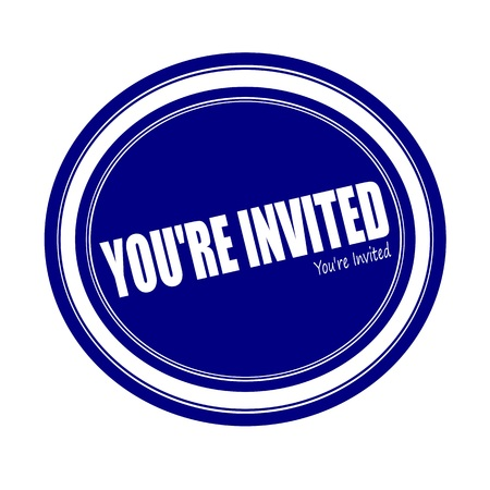 invited: YOURE INVITED white stamp text on blue