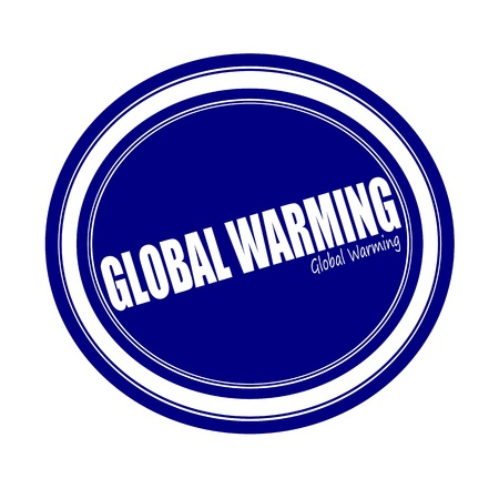 unsustainable: GLOBAL WARMING white stamp text on blue