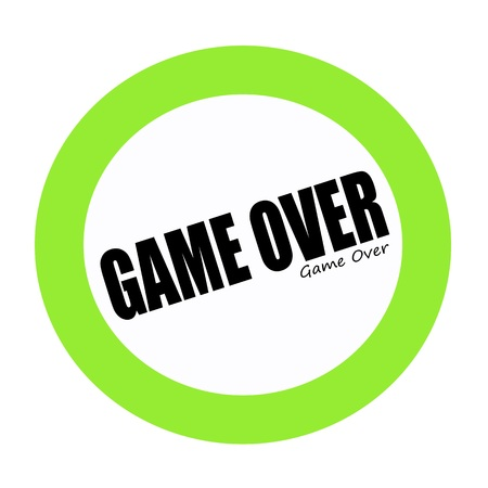 concluded: GAME OVER black stamp text on green