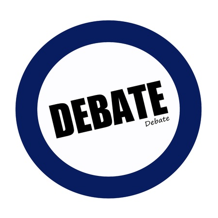 debate: DEBATE black stamp text on white