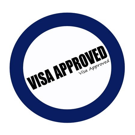 visa approved: VISA APPROVED black stamp text on blueblack Stock Photo