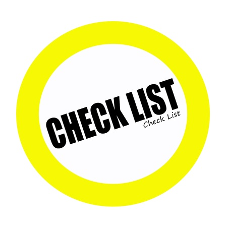 check list: Check list back stamp text on white