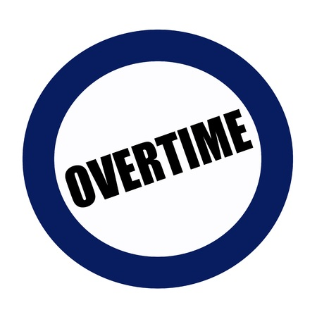 hectic: OVERTIME black stamp text on white Stock Photo