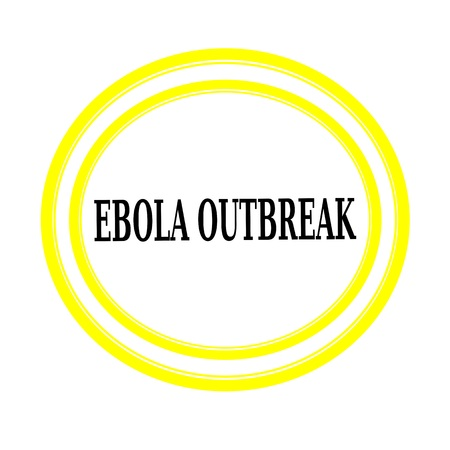 outbreak: EBOLA OUTBREAK black stamp text on white backgroud