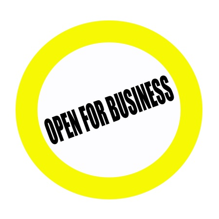 advertised: OPEN FOR BUSINESS black stamp text on white Stock Photo