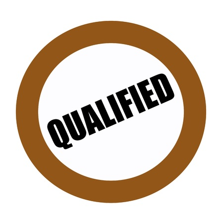 qualified: QUALIFIED black stamp text on white