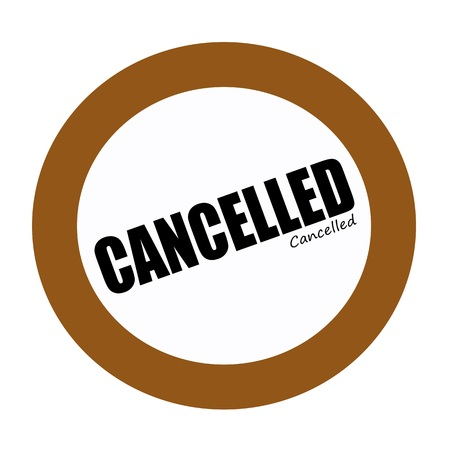 cancelled stamp: CANCELLED black stamp text on white Stock Photo