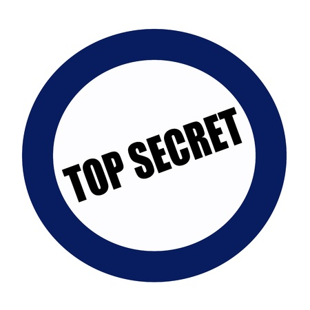 secret password: TOP SECRET black stamp text on blueblack