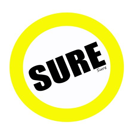 sure: SURE back stamp text on white Stock Photo