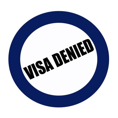 confirmed verification: VISA DENIED black stamp text on blueblack Stock Photo